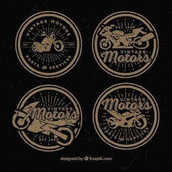 Insignias decorativas de moto en estilo retro