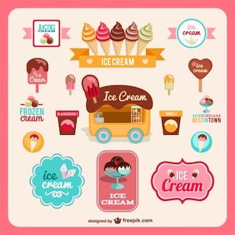 Insignias estilo retro de helados
