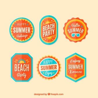 Insignias naranjas de fiesta de playa