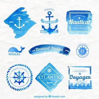 Insignias náuticas azules de acuarela