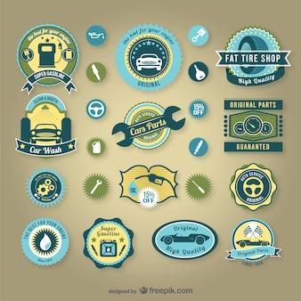 Insignias retro de servicios para automóvil