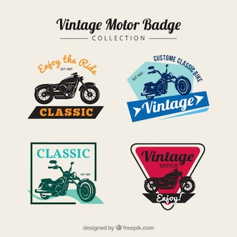 Insignias vintage de motos en colores