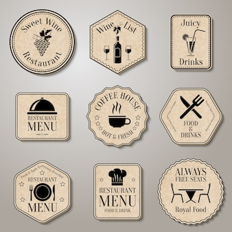Insignias vintage de restaurante