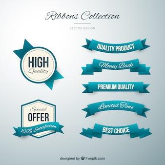 insignias y cintas de color turquesa lindo en estilo de la vendimia