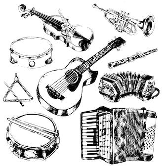 Instrumentos musicales, dibujados a mano