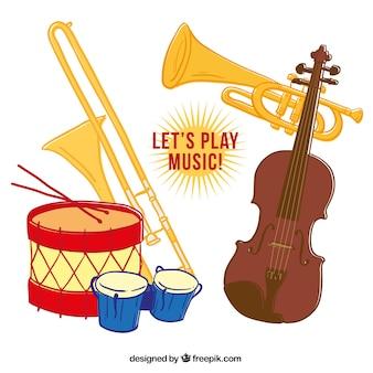 Instrumentos musicales dibujados a mano