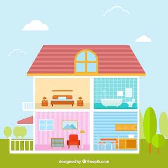 Interior de casa con bonitas habitaciones