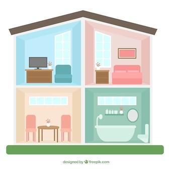 Interior de casa con habitaciones en color pastel