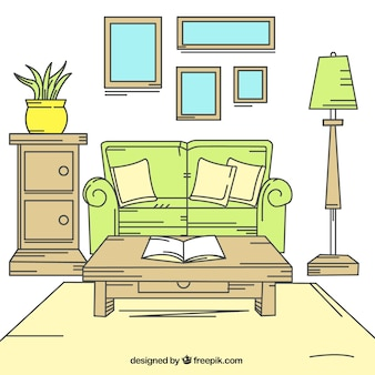 Interior de casa con muebles de madera y detalles verdes