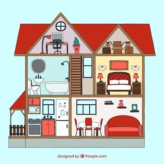 Interior de casa con muebles dibujados a mano