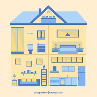 Interior de casa en diseño plano con detalles azules