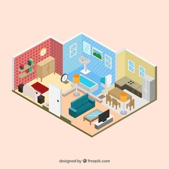Interior de casa en estilo isométrico