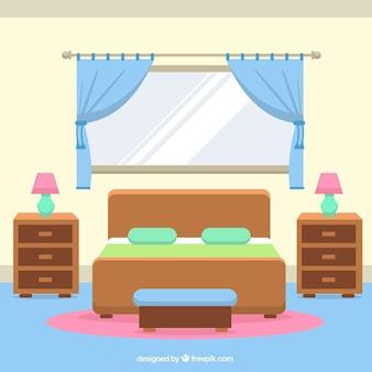 Interior de habitación con ventanas y cortinas