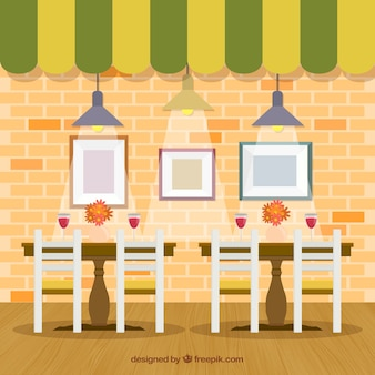 Interior de restaurante en estilo plano