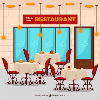 Interior de restaurante plano