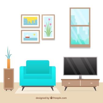 Interior de salón con muebles y cuadros