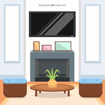 Interior de salón en diseño plano