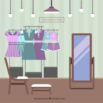 Interior de tienda de ropa en diseño plano