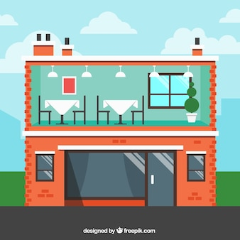Interior y exterior edificio de restaurante en diseño plano