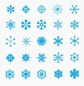 Invierno, copos de nieve iconos