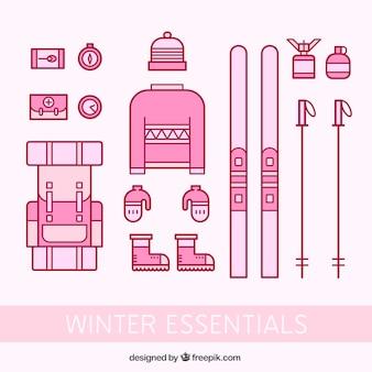 Invierno essentials iconos en color de rosa