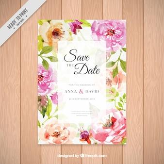Invitación de boda con bonitas flores de acuarela