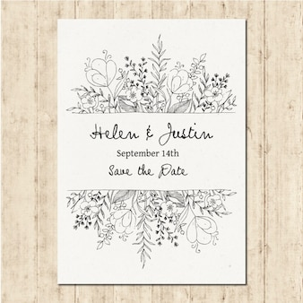 Invitación de boda dibujada a mano