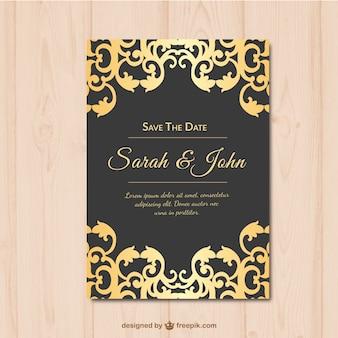 Invitación de boda dorada y negra