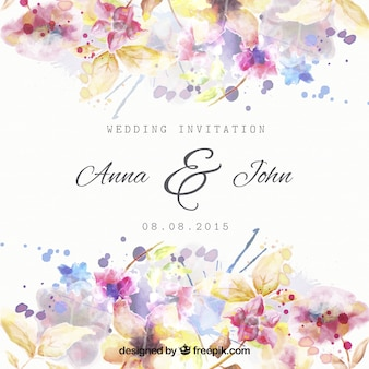 Invitación de boda floral en estilo de acuarela