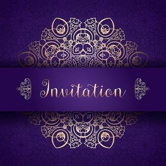 Invitación morada y dorada