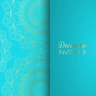 Invitación azul con patrones dorados