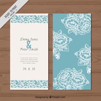 Invitación azul de la boda con rosas bosquejos