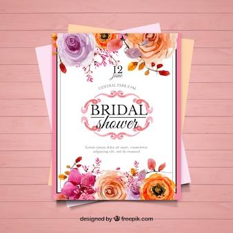 Invitación bonita de despedida de soltera con flores moradas y naranjas