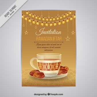Invitación bonita dorada de ramadan iftar