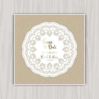 Invitación con fecha de boda con diseño vintage
