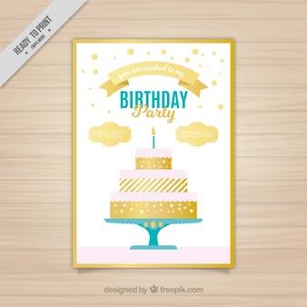 Invitación con tarta de cumpleaños dorada