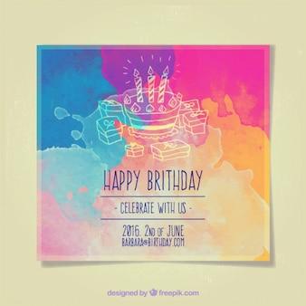 Invitación con tarta de cumpleaños y velas