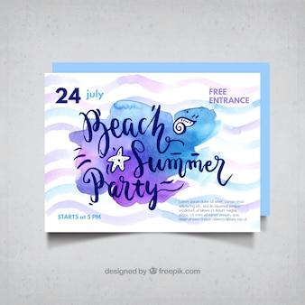 Invitación de acuarela de fiesta de verano