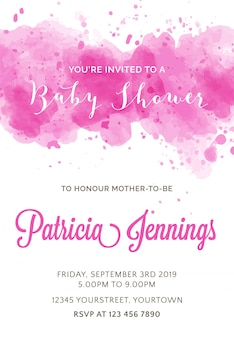 Invitación de acuarela hermosa de baby shower