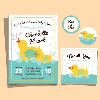 Invitación de baby shower con pequeños patos lindos
