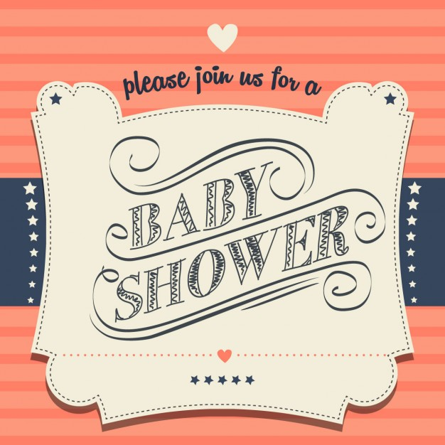 Invitación de baby shower retro