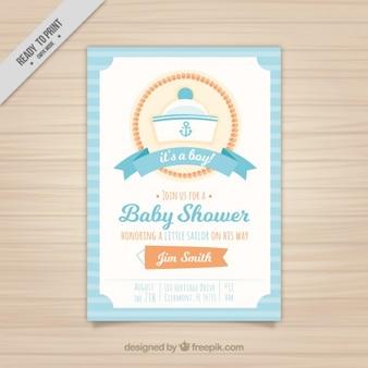 Invitación de bienvenida al bebé con gorro de marinero