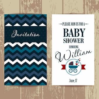 Invitación de bienvenida de bebé con líneas zig-zag