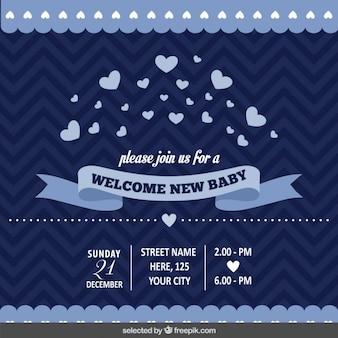 Invitación de bienvenida del bebé en azul oscuro