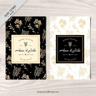 Invitación de boda, floral dorado
