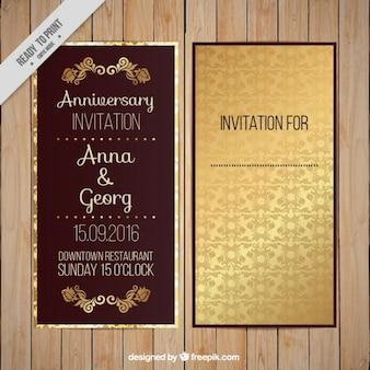 Invitación de boda, tema dorado