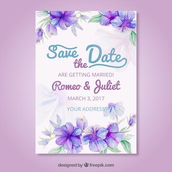 Invitación de boda artística con flores en acuarela