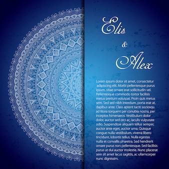 Invitación de boda azul con un mandala