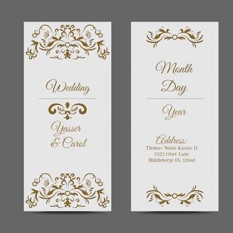 Invitación de boda blanca con elementos dorados
