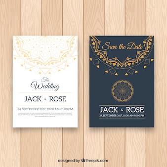 Invitación de boda blanca y negra con diseño de mandala